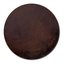 "Copper Tables - Beautiful round copper table top. This is a handmade hammered copper table shown in your choice of patina in 24""-72"".Slight variations in patina occur as this is handmade."