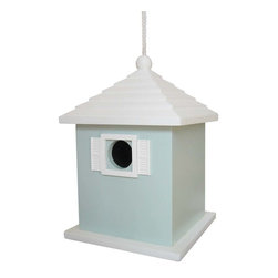 """Home Bazaar Inc. - Bermuda Birdhouse, Blue - This roof and color combination evoke the classic style and feeling of a """"Bermuda-ful"""" Birdhouse. A removable back wall, drainage, ventilation, an unpainted interior and a 1 1/4 """" hole size will invite nesting birds in and keep larger ones out. Equipped with a heavy-duty nylon cord for hanging."""