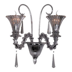 Royal Crystal Lighting - Royal Crystal Lighting Murano Glass Wall Sconces 2 Lights - Beautiful Murano Glass Sconce matching Large Royal Crystal Chandelier, 81051-Clear, and/or C110D81051-8+4