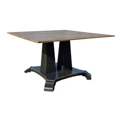 Fable Porch Furniture - Taylor Pedestal Dining Table - Double your fun with this twin-pedestal dining table. The unique base and chestnut-finished plank top make this a gorgeous, architectural addition to any dining room.