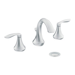 "Moen - Moen T6420 Chrome Bath Sink Faucet Trim Two Lever Handle 8""-16"" Center, ADA - Moen T6420 is part of the Eva Bath collection. Moen T6420 is a new style bathroom lavatory, sink faucet trim. Moen T6420 has a Chrome finish. Moen T6420 two handle widespread lavatory faucet mounts in a 3-hole 8"" - 16"" Center sink, with 4 7/8"" long and 6"" high spout. Moen T6420 includes a metal pop-up type waste assembly. Moen T6420 two handle widespread trim fits the MPact common valve system and requires Moen's 9000, valve to make this faucet complete. Moen T6420 is part of the Eva collection, with sophisticated lines and elegant transitional design giving today's home that timeless appeal. Moen T6420 two lever handle provides ease of operation. Chrome is a proven finish from Moen and provides style and durability. Moen T6420 metal lever handle meets all requirements ofADA ICC/ANSI A117.1 and ASME A112.18.1/CSA B125.1, NSF 61/9 and proposition 6"". Water Sense Certified. Lifetime limited Warranty."