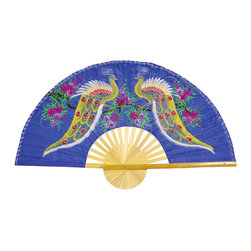 "Oriental Furniture - Proud Peacocks Fan - 60"" - This delicate Thai silk wall fan was hand-crafted from fabric and bamboo and features a hand-painted design. Two bright gold peacocks with pink and blue stand amid patches of purple flowers on a bold blue background.  Mount on the wall or display on a stand to bring an elegant Oriental accent to your home or business."