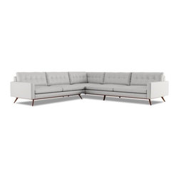 Fillmore L Shape Sectional - This 50's inspired sectional features flared solid wood base, slim profile arm and button tufting.