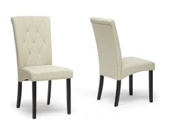 Baxton Studio - Baxton Studio Alinia Beige Modern Dining Chair - Pack a punch of detailed designer style in your dining area. The Alinia Designer Dining Chair includes beige fabric upholstery with quilted detailing for a hint of regality. A solid rubberwood frame, dark brown legs, and foam cushioning round out a great set of features. This contemporary dining chair is made in Malaysia, requires assembly, and should be spot cleaned.