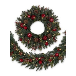 Balsam Hill Norway Spruce Decorated Wreath and Garland - THE SOPHISTICATION OF BALSAM HILL'S NORWAY SPRUCE HOLIDAY WREATH AND GARLAND |