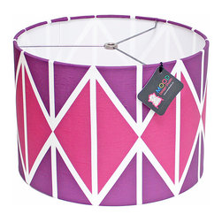 """Mood Design Studio - Modern Lamp Shade - Striking Diamonds, Midnight Berry, 14"""" - Mood Design Studio brings bold, modern, and colorful accessories into your home. All of our designs begin on paper by sketching ideas for fabric collections. We research color trends and mix in inspiration from the fashion runways as well as from our favorite mid century design books. Our fabrics are printed in the USA using eco friendly dyes and printing methods."""