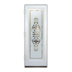 Sans Soucie Art Glass (door frame material Plastpro) - Glass Front Entry Door Sans Soucie Art Glass Bordeaux - Sans Soucie Art Glass Front Door with Sandblast Etched Glass Design. Get the privacy you need without blocking the light, thru beautiful works of etched glass art by Sans Soucie!  This glass is semi-private.  (Photo is view from outside the home or building.)  Door material will be unfinished, ready for paint or stain.  Bronze Sill, Sweep and Hinges. Available in other sizes, swing directions and door materials.  Dual Pane Tempered Safety Glass.  Cleaning is the same as regular clear glass. Use glass cleaner and a soft cloth.