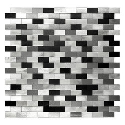 Mosaic Decor - 3D Metal Aluminum Black/White/Gray Mosaic Kitchen Backsplash Tile - 3D Metal Aluminum Black White Gray Mosaic Kitchen Backsplash Tile