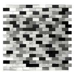"Mosaic Decor - 3D Metal Aluminum Black, White & Gray Mosaic Kitchen Backsplash Tile, 12"" x 12"" - 3D Metal Aluminum Black White Gray Mosaic Kitchen Backsplash Tile"
