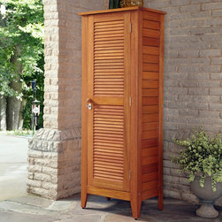 None - Montego Bay One Door Multi-purpose Storage Cabinet - This Montego Bay Multi-Purpose Storage Cabinet by Home Styles is just what you've been looking for to meet your outdoor storage needs.  This cabinet showcases an island inspired design in a eucalyptus finish and constructed of eco-friendly shorea wood.