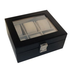 Royce Leather Aristo 6 Slot Watch Box - 8.37W x 3.6H in. - Your best watches deserve the very best - thank you, Royce Leather Aristo 6 Slot Watch Box - 8.37W x 3.6H in. Six velvet pillows create ultra-soft storage for your watches, while the glass ceiling creates an elegant display. The box is crafted of black bonded leather with rich coloring and grain detail, not to mention a built-in lock. Office, bedroom, desk, dresser - any space will love to include this can't-miss piece.About Royce LeatherCapitalizing on decades of knowledge and experience, Royce Leather produces an array of finely crafted quality leather products in a wide range of leather selections. Established in 1974, Royce's varied collection includes wallets, passport jackets, brief cases, luggage, agendas, various leather cases, and more.When making their innovative leather products, Royce Leather incorporates a classic design with rich character, enduring quality, and the unique beauty of each leather hide. The leather skins are carefully hand selected, inspected, and finished with pride by skilled craftsmen while they maintain the natural beauty of the leather. Each piece is meticulously constructed with attention to even, fine stitching, and is tooled using only the finest techniques and materials. The finished Royce product can withstand the tests of time and travel for both a busy personal and professional lifestyle.