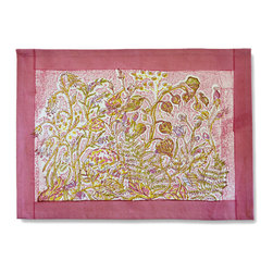 Origin Crafts - Petit fleur placemats, set of 6 (pink) - Petit Fleur Placemats, Set of 6 (Pink) Bring the romance of Southern France to your home with our richly colored, hand-printed cotton linens. Dotted with delicate flowers and tiny berries, Petit Fleur captures the innocent charm of a fairy garden. Set upon an airy backdrop of pastel Pink or Easter pink, these table linens, runners and tea towels are perfect for an outdoor f�te or a picnic in the spring. Fine French table linens, hand-printed. Designed by Bruno Lamy exclusively for Couleur Nature. Suitable for everyday use. Easy care, machine washable, color fast. 100% cotton. Dimensions (in):15x18 By Couleur Nature - Couleur Nature is a wholesaler of fine, French-inspired Indian woodblock-printed and vintage linens. Couleur Nature?s linens and home accessories are versatile and can be used for formal or casual table settings year-round, as well as the every day. Their distinct but wide appeal makes them ideal for almost any occasion, decor or personal style. Usually ships in three business days. Our linens are handmade: slight variations are natural and make each piece unique.