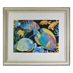 Colorful Fish Painting of Colorful Fishies - Print on paper.  Bold colored print of tropical fish.