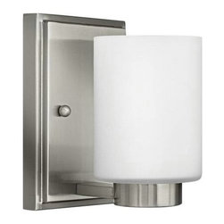 Hinkley - Hinkley 5050BN Miley 1 Light Bathroom Fixture in Brushed Nickel 5050BN - 1 Light Bathroom Fixture.With white etched glass, cast stepped back plate and cast glass holders G9 Halogen Bulb (included)Back Plate Height: 6-1 2 Back Plate Width: 4-1 2 Bulb Type: Halogen Certification: c-UL-us Damp Collection: Miley Energy Star Compliant: No Extension: 5-1 4 Finish: Brushed Nickel Glass: Etched Opal Glass Height: 6-1 2 Light Direction: Up Lighting Max Wattage: 60 Number of Lights: 1 Shade Shape: Cylinder Socket 1 Base: G-9 Socket 1 Max Wattage: 60 Style: Contemporary Modern Suggested Room Fit: Bathroom, Bedroom TTO: 3-1 4 Voltage: 120 Weight: 3 Width: 4-1 2