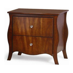 New Spec - New Spec Ontario 2 Drawer Night Stand - French Cherry - 516001BN - Shop for Nightstands from Hayneedle.com! Curvaceous sides that extend to delicate legs make the New Spec Ontario 2 Drawer Night Stand - French Cherry graceful and contemporary. This nightstand is well-crafted of solid wood in a luxurious French Cherry finish. Two generous drawers open on smooth metal glides and have a soft-close feature. Silver finished knobs complete the look.About New Spec Inc.Founded in 1990 New Spec is a US-based company built on the belief that great business relations with both retailers and customers alike is of paramount importance. Offering an array of furniture and case goods for a variety of rooms and decor preferences New Spec continues to strive for excellence by delivering on the high expectations and standards they have set for themselves so that they may continue to provide the outstanding quality and service their customers have come to expect.