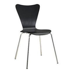 "LexMod - Ernie Dining Side Chair in Black - Ernie Dining Side Chair in Black - Minimalist in nature though it may be, this seat doesn't skimp on comfort. Its seemingly rigid design, flexes to the contours of the human body, making it a great side chair for homes and businesses alike. Set Includes: One - Ernie Chair Solid Plywood Seat, Stackable, Chrome Legs Overall Product Dimensions: 19.5""L x 17""W x 34""H Seat Dimensions: 16""L x 18""H - Mid Century Modern Furniture."