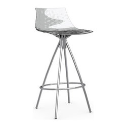 Calligaris - ICE Counter Stool, Satin Frame, Transparent, Non-Swiveling - Your contemporary kitchen is not complete without a set of chic counter stools. Pick from six modern colors for the seat and finish the look with either chrome or satin hardware for the base. You'll love pulling up a stool for your morning cup of espresso.