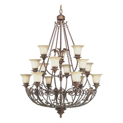 Thomasville Lighting - Thomasville Lighting Messina Traditional 15-Light Chandelier X-57-2914P - This Progress Lighting chandelier from the Messina Collection, this three tier light fixture features beautiful scrollwork and warm finishes that are sure to please and delight. The rich tones of the Aged Mahogany finish accentuate all the finer details, while the multiple tiers of sepia haze glass shades complete the look.