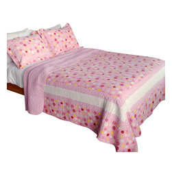 Blancho Bedding - Candy Pink 100% Cotton 3PC Vermicelli-Quilted Patchwork Quilt Set  Full/Queen - The [Candy Pink] Quilt Set (Full/Queen Size) includes a quilt and two quilted shams. Shell and fill are 100% cotton. For convenience, all bedding components are machine washable on cold in the gentle cycle and can be dried on low heat and will last you years. Intricate vermicelli quilting provides a rich surface texture. This vermicelli-quilted quilt set will refresh your bedroom decor instantly, create a cozy and inviting atmosphere and is sure to transform the look of your bedroom or guest room. Dimensions: Full/Queen quilt: 90 inches x 98 inches; Standard sham: 20 inches x 26 inches.