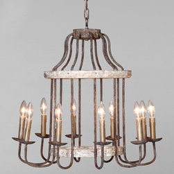 "Gabby - Gabby Lighting Adele Chandelier - Creating decor with a story, Gabby's line of antique reproduction furniture retains the spirit of the European pieces that inspired it. The natural elements of the iron and parawood Adele chandelier create a cozy ambiance in a dining room. Suspended over a table, the fixture's birdcage-inspired shape warmly illuminates a space with its 10 lights while its chipped white and rust finish lends rustic appeal. Due to the handmade artistry of Gabby's collection of home furnishings, variation between individual products should be expected and appreciated. Chandelier measures 25.5""W x 25.5""D x 25.5""H."