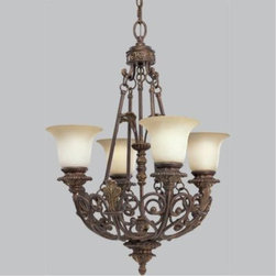 "Progress - Progress-P4191-75-Messina - Chandelier - GeneralSepia glass shadesIron scroll basket design with leaf motifP4192-75 is a three tier (6/6/3)chandelierHand painted aged mahogany finishSteel ConstructionP4191 has 6 feet of 9 gauge chain supplied, P4192 has 10 feet of 6 gauge chainCompanion chandelier, hall and foyer, close to ceiling, and wall bracket unitsMountingCeiling chain mountedCanopy covers a standard 4"" hexagonal outlet boxMounting strap for outlet box includedP4192 note: Weight of fixture exceeds NEC limits for outlet boxMounting. Consult a professional electrician for proper installationThreaded socket ring secures glassElectricalCeramic medium based sockets15 feet of wirePre-wired.   Aged Mahogany Finish with Sepia Haze Glass  Lamp Quantity: 4  Lamp Type: Medium Base  Wattage: 100  UL Certified  Wire Length: 15.00"