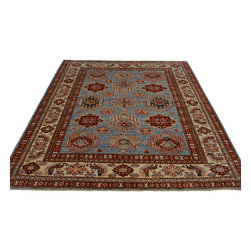 5'x7' Hand Knotted Super Kazakh Sky Blue Oriental Rug 100 Percent Wool Sh18259 - Our Tribal & Geometric hand knotted rug collection, consists of classic rugs woven with geometric patterns based on traditional tribal motifs. You will find Kazak rugs and flat-woven Kilims with centuries-old classic Turkish, Persian, Caucasian and Armenian patterns. The collection also includes the antique, finely-woven Serapi Heriz, the Mamluk Afghan, and the traditional village Persian rug.