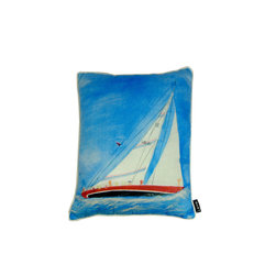 Lava - Painted Sailboat 16 x 20 Pillow (Indoor/Outdoor) - 100% polyester cover and fill. Made in USA. Spot clean only. Safe for use indoors or out.