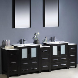 "Fresca - Fresca Torino 84 Espresso Double Bathroom Vanity w/ 3 Cabinets & Sinks - This large vanity unit features two main cabinets complete with integrated white ceramic sinks. Each of these cabinets have a wide set of drawers and a main cupboard with frosted glass panel doors. Joining together this set are three side cabinets made up of three smaller drawers. The entire unit is fashioned in a deep Espresso finish to give a sophisticated look. This spacious item is perfect for large bathrooms in homes, hotels, restaurants and holiday cottages.   Torino Bathroom Vanity Details:   Dimensions: Vanity: 84""W x 18 1/8D x 33 3/4H, Side Cabinet: 12""W x 17.75""D x 31.63""H Material: Plywood with Veneer, integrated ceramic sinks Finish: Espresso Please note: faucets not included"