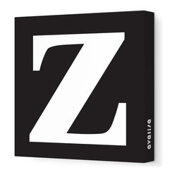"Avalisa - Letter - Lower Case 'z' Stretched Wall Art, 18"" x 18"", Black - Spell it out loud. These lowercase letters on stretched canvas would look wonderful in a nursery touting your little one's name, but don't stop there; they could work most anywhere in the home you'd like to add some playful text to the walls. Mix and match colors for a truly fun feel or stick to one color for a more uniform look."
