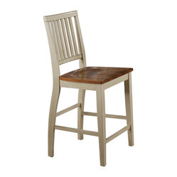 Steve Silver Candice Counter Height Chair in Oak and White (Set of 2)