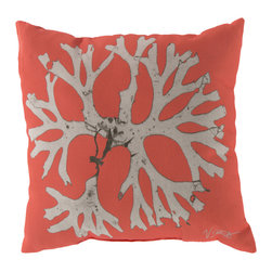 """Surya - Coral Square Decorative Pillow RG-051 - 20"""" x 20"""" - Enjoy a tranquil reminder of the beach in your space with this cool coral pillow. Featuring a bold beige coral design splashed pristinely against a stunning coral backdrop, this piece is sure to spice up your space. This pillow contains a Virgin Poly Styrene Bead fill providing a reliable and affordable solution to updating your indoor or outdoor decor."""