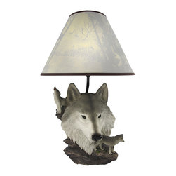 Zeckos - Gray Wolf Bust Table Lamp with Nature Print Shade - This awesome table lamp features a bust of a gray wolf. Measuring 18 1/2 inches tall, including the forest print 12 inch diameter shade, the lamp is a wonderful decorative accent for wolf lovers. It uses regular sized light bulbs up to 60 watts.