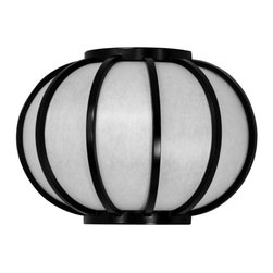 "Oriental Furniture - 13.5"" Harajuku Design Round Wall Sconce - Black - Unique, well crafted wall sconces, providing soft, warm, indirect lighting in any room in the home or office. They're crafted in a distinctive Japanese design, with curved bent wood lattice over durable washi paper shades. Configured for installation by a professional electrician, hard wired into the wall. Carefully crafted to American specifications, with UL approved wiring and bulb sockets. Use medium size, type A American light bulbs, up to 40 watt incandescent or energy efficient compact florescent."