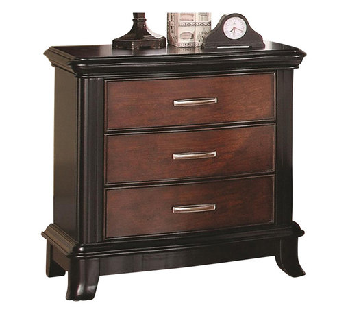 Coaster - Coaster Josephina Three Drawer Nightstand - Coaster - Nightstands - 202232 - This simple chic nightstand is the perfect place for your alarm clock reading lamp and bedtime reading materials. A two tone finish of mocha and cherry creates pleasant visual contrast accented by gleaming rectangular metal hardware. Three drawers store books magazines and anything else you want to have on hand at your bedside.