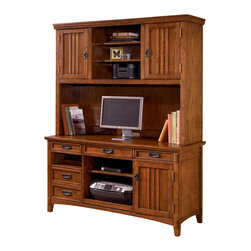 Signature Design by Ashley - 2 Pc Credenza Hutch Set in Dark Oak Stain - Set includes: Large Credenza and Large Hutch. Color/Finish: Dark Oak Stained. Traditional mission styling with a medium brown oak stained finish. Constructed with oak veneers and hardwood solids. Desk hutch features light and closed storage. Modular desk has laptop drawer w/ internet port and electrical outlet. Pull-out keyboard tray is covered with black PVC for durability. Large Credenza: 61 in. W x 22 in. L x 30 in. H. Large Hutch: 61 in. W x 16 in. L x 45 in. H