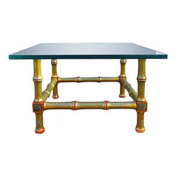 Consigned - Faux Bamboo Gilt Table - Two piece Faux Bamboo Gilt paint, side table with thick glass top. Nice contemporary look, mixed with an asian flare.  Easy cleaning and up keep, glass has minor scratches