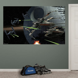 Fathead - Fathead Star Wars Space Battle Mural Wall Decals - Title: Star Wars Space Battle MuralMaterials: High-grade tear and fade resistant vinylSet includes: One Sheet of assorted wall graphics & squeegee