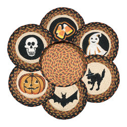 Earth Rugs - Halloween Round Trivets in a Basket (Set of 7) - Our Jute products are crafted with sustainably harvested jute, a fast-growing, renewable natural fiber. The jute is then hand braided into unique patterns.
