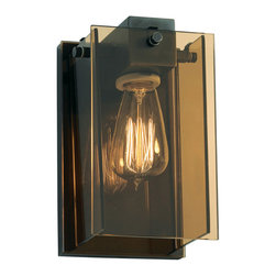 Sonneman A Way Of Light - Bronze Age Wall Sconce - Bronze Age wall sconce features a bronze glass and a black bronze finish. One 60 watt, 120 volt, Victorian filament medium base incandescent lamp required but not included. General light distribution. 5 inch width x 8.5 inch height x 4.5 inch depth.