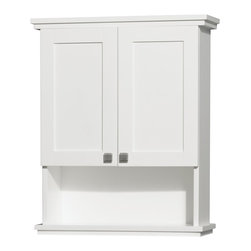 "Wyndham Collection - Wyndham Collection 25"" Acclaim Bathroom Wall Cabinet - The Acclaim wall cabinet, completely original and part of the Wyndham Collection Designer Series by Christopher Grubb, is a great way to add a little storage space to your bathroom oasis. This ergonomic and elegant wall cabinet is designed to be placed over the toilet or used as extra wall storage just where you need it most. Brushed chrome hardware accents complete the look and compliment the entire Acclaim line."