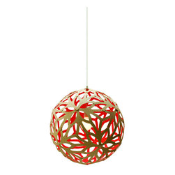 David Trubridge - David Trubridge Floral 600 Pendant Lamp, Red - This elegant orb features flower shapes with sprouting stems and petals, creating an organic pattern. The peek-a-boo design allows you to enjoy the silhouette on the inside and out.