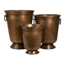 "IMAX CORPORATION - Meziere Copper Plated Planters - Set of 3 - This set of three Meziere copper plated planters are a timeless essential for any home! Copper accessories are extremely versatile and work well with a variety of homes. Set of 3 in various sizes measuring around 23""L x 17.75""W x 17.75""H each. Shop home furnishings, decor, and accessories from Posh Urban Furnishings. Beautiful, stylish furniture and decor that will brighten your home instantly. Shop modern, traditional, vintage, and world designs."