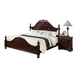 """Acme - 5-Piece Gwyneth Collection Cherry Finish Wood with Intricate Design Carvings - 5-Piece Gwyneth collection cherry finish wood with intricate design carvings on the headboard and footboard queen bedroom set. This set includes the queen bed with headboard and footboard, nightstand, dresser, mirror and chest. Queen bed measures 63"""" H to the top of the headboard. Nightstand measures 26"""" x 16"""" x 28"""" H. Dresser measures 63"""" x 16"""" x 34"""" H. Mirror measures 42"""" x 46"""". Chest measures 38"""" x 16"""" x 52"""" H. Some assembly required."""