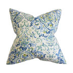 The Pillow Collection - Halcyon Floral Pillow Blue Green - Change the look and feel of your home without spending a fortune with this adorable accent pillow. This square pillow measures 18 inches and fits perfectly in most furniture. You can use this anywhere inside your home from your sofa to your bed or seat. This decor pillow features a floral pattern in bold blue and bright green hues on a white background. Proudly made in the USA using 55% cotton and 45% linen material. Hidden zipper closure for easy cover removal.  Knife edge finish on all four sides.  Reversible pillow with the same fabric on the back side.  Spot cleaning suggested.