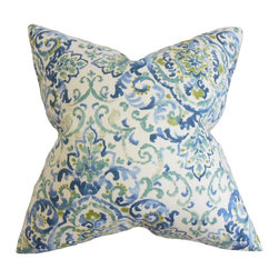 "The Pillow Collection - Halcyon Floral Pillow Blue Green 18"" x 18"" - Change the look and feel of your home without spending a fortune with this adorable accent pillow. This square pillow measures 18 inches and fits perfectly in most furniture. You can use this anywhere inside your home from your sofa to your bed or seat. This decor pillow features a floral pattern in bold blue and bright green hues on a white background. Proudly made in the USA using 55% cotton and 45% linen material. Hidden zipper closure for easy cover removal.  Knife edge finish on all four sides.  Reversible pillow with the same fabric on the back side.  Spot cleaning suggested."