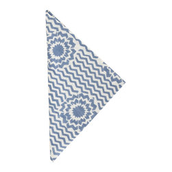 """Pine Cone Hill - PCH Riviera Denim Napkins Set of 4 - Fun and graphic, the denim blue and white PCH Riviera cloth napkins deliver a punchy accent. A bold star bursts through its classic chevron pattern for a spirited addition to the modern table. 22""""W x 22""""H; Set of 4; 50% cotton/50% linen; Designed by Pine Cone Hill, an Annie Selke company; Machine wash cold, tumble dry low; Do not bleach"""