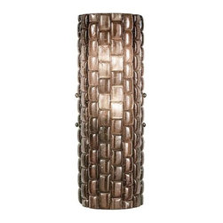842650-4ST Sconce Constructivism - Sconce of individually cast Twilight sherry glass pillow-shaped pieces, fused at high temperature in a hand-laid cobblestone pattern. The individual lenses create a fascinating light diffuser & sculptural form. Exposed metal in hand rubbed bronze.