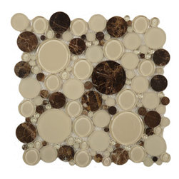 "Euro Glass - Bubble Warm Brownie  Circles Brown Lagoon Series Glossy & Frosted Glass and Ston - Sheet size:  12"" x 12""     Tile Size:  Circles     Tiles per sheet:  120     Tile thickness:  1/4""      Grout Joints:  1/8""     Sheet Mount:  Mesh Backed     MATCHING 4"" X 12"" BORDER AVAILABLE   Sold by the sheet      -"