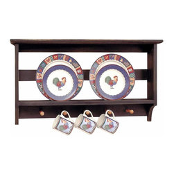 Renovators Supply - Plate Racks Black/Autumn Hardwood Plate Rack 18.5 H x 33.5 W'' - Plate Rack. This two tier Shaker plate rack is handcrafted from hardwood.  It measures 18 1/2 in. high x 33 1/2 in. wide x 4 3/4 in. proj.  There are 5 pegs below the shelf and the item is finished in Black with Autumn accents.