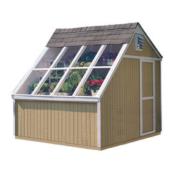 Handy Home - Handy Home Phoenix Solar Shed - 10 x 8 ft. - 18147-4 - Shop for Sheds and Storage from Hayneedle.com! You're going to love what you see in the Handy Home Phoenix Solar Shed - 10 x 8 ft. and you're going to have plenty of light to see it. This conveniently sized shed can be the perfect starter greenhouse or a contemporary storage structure as necessary. Aluminum-framed windows of tempered glass let the light in while a pre-assembled door with a locking knob keeps everything secure. Four adjustable vents let you control temperature and airflow. A 6-foot high eave wall and 9-foot high peak wall give you plenty of room for plants or boxes. Detailed instructions and included hardware will let you get started with this attractive building that is ready for a concrete pad. Try adding the Handy Home Phoenix 8 ft. Cedar Bench or Power Fan with Thermostat for a fully outfitted greenhouse.About Handy HomeSince 1978 Handy Home has been making it easy and affordable for their customers to add storage sheds gazebos and playhouses to their homes. As North America's largest producer of wooden storage and recreational building kits Handy Home makes durable structures that require no sawing or drilling and can be delivered when and where their customers need them.